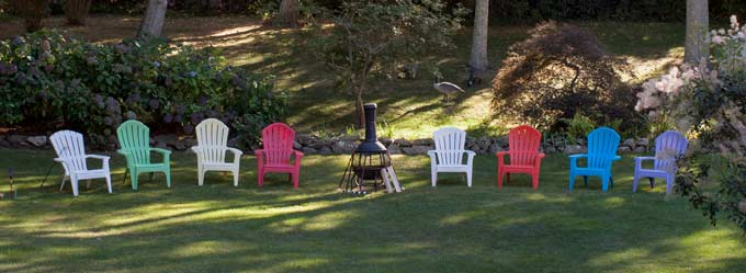 Chairs on the lawn for relaxing on your Cape Cod vacation