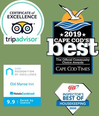TripAdvisor Certificate of Excellence, Hotels Combined 9.9 rating, 2019 Cape Cod's Best from the Cape Cod Times, 2020 Best of Housekeeping AAA